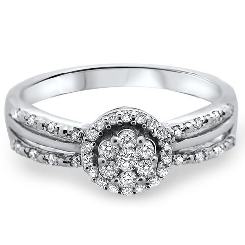 18k White Gold, F/VS 0.26carat Round Brilliant Cut Diamonds Engagement Ring
