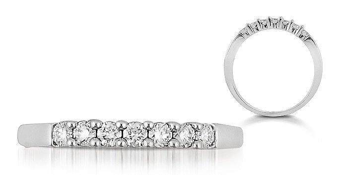 7 Round Diamonds 0.24carat Half Eternity Wedding Ring,18K Solid White Gold