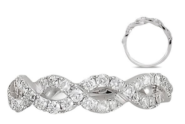 VS 0.52ct Round Brilliant Cut Diamond Half Eternity Wedding Ring,18K White Gold