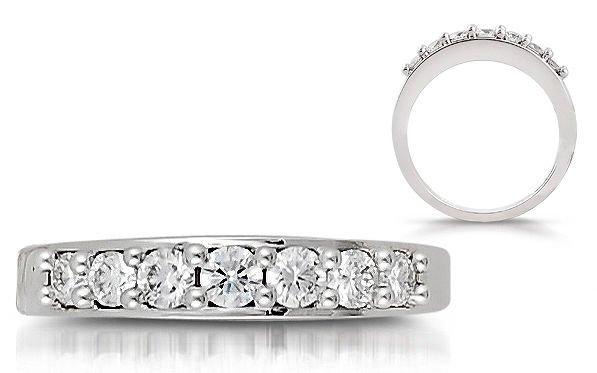 VS 0.48 Seven Round diamonds Half Eternity Wedding Ring in18K Solid White Gold