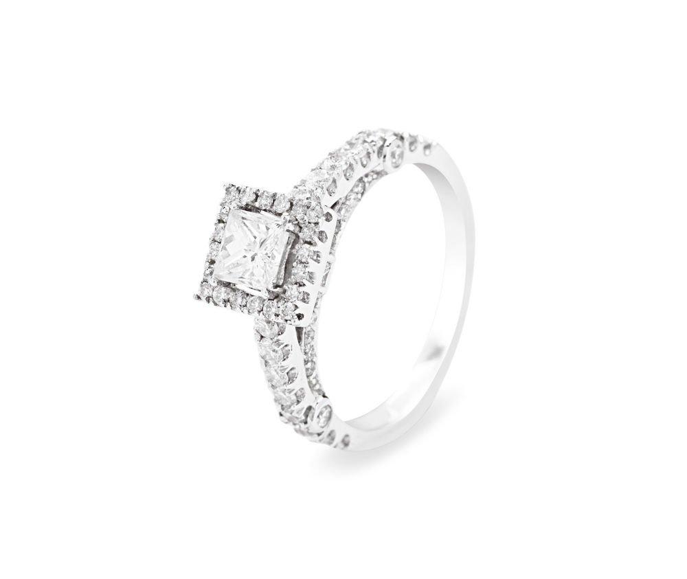 9k White Gold,1.20carat Princess Cut Solitaire & Round Diamonds Engagement Ring