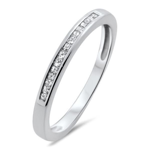 F/SI 0.15ct PRINCESS CUT DIAMOND HALF ETERNITY WEDDING RING,9K WHITE GOLD,SIZE J