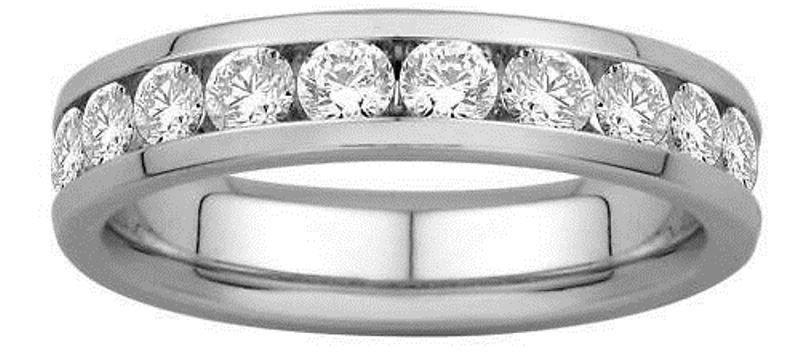 G/SI 0.60CT ROUND BRILLIANT CUT HALF ETERNITY WEDDING RING,9K WHITE GOLD from finediamondsrus