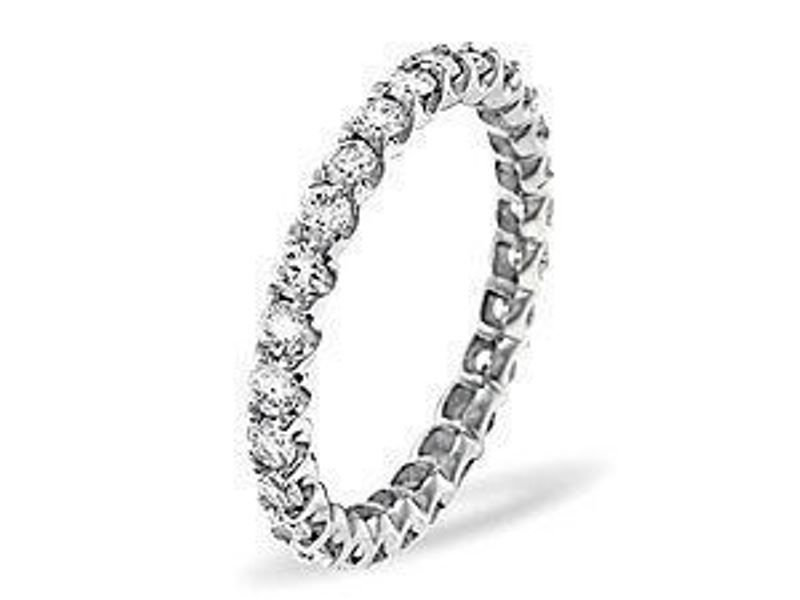 G/SI 0.55CT DIAMOND FULL ETERNITY RING IN 9K WHITE GOLD,SIZE L