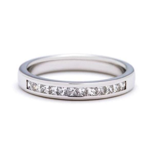 0.25Ct HALF ETERNITY PRINCESS CUT DIAMOND WEDDING RING,950 PLATINUM,WIDTH 2.82mm,finediamondsrus
