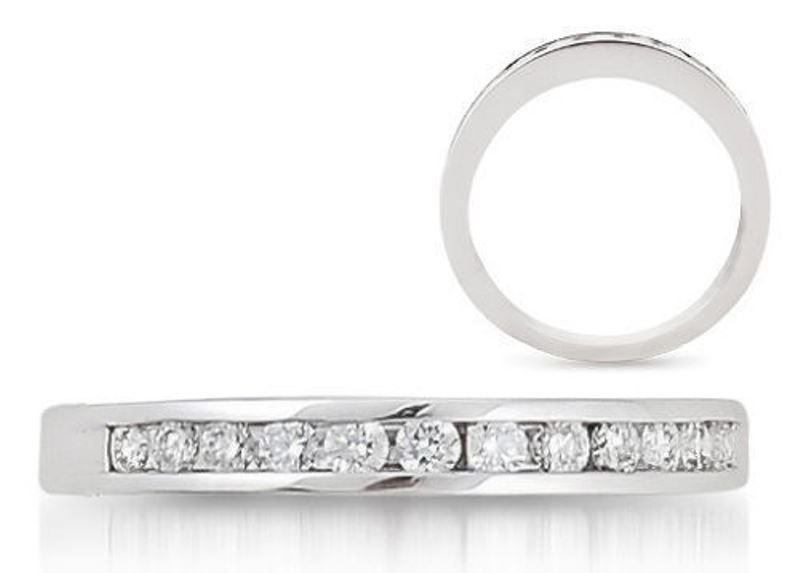 HALF ETERNITY RING ROUND CUT DIAMONDS & PLATINUM WEDDING BAND,WIDTH 3mm from finediamondsrus
