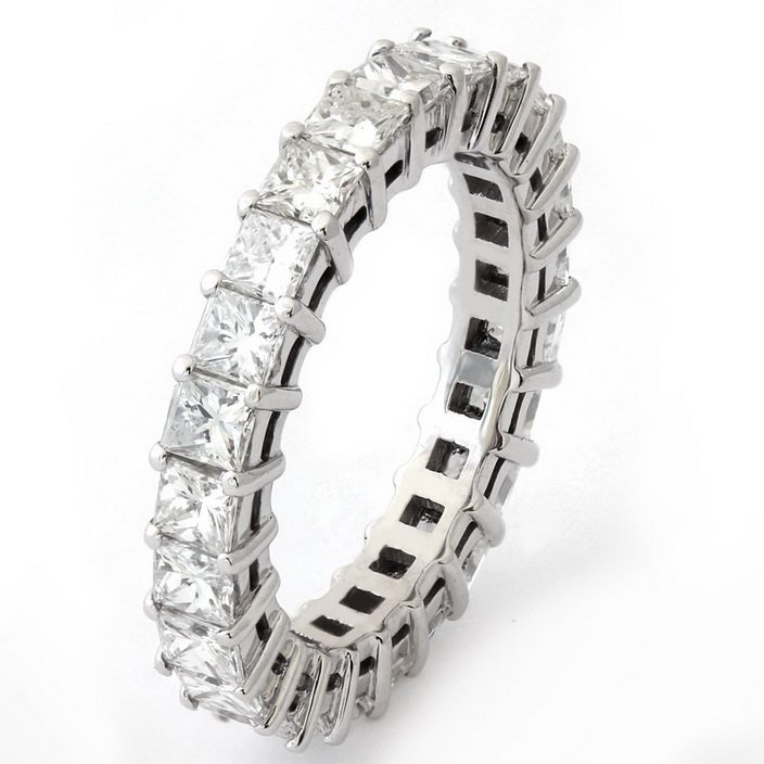 Brand New 1.40ct Princess Cut Diamonds Full Eternity Wedding Ring in 9K Solid White Gold