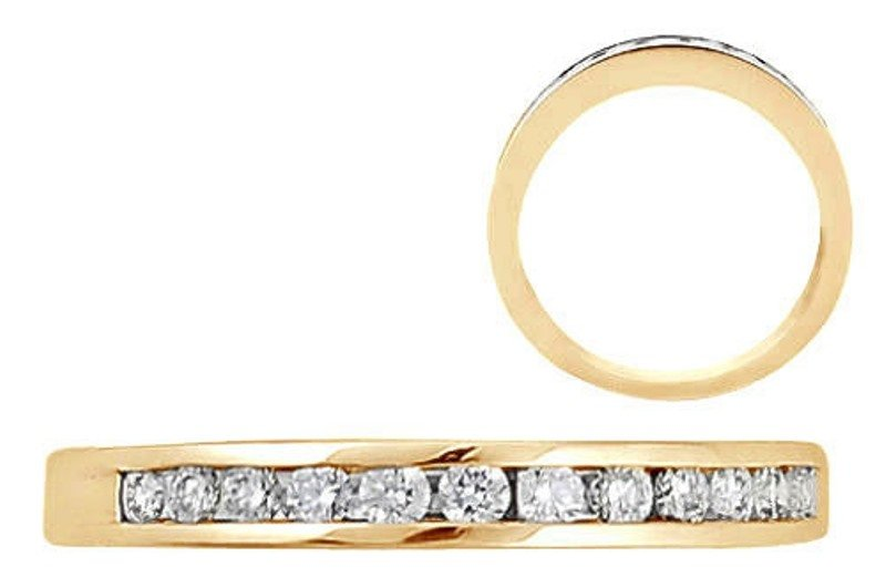 ROUND BRILLIANT DIAMOND HALF ETERNITY WEDDING RING BAND IN 9K SOLID YELLOW GOLD