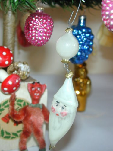 """ANTIQUE  5"""" German WAX FILLED Santa Father Christmas Tree Ornament Ball OLD"""