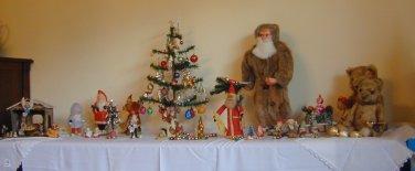 KUGELS German GREEN GOLD CHRISTMAS Tree ICICLES Ornaments BLOWN GLASS EYES 13pcs