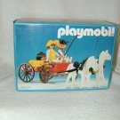 1983 PLAYMOBIL Western DR FAMILY BUCKBOARD WAGON with SNOW WHITE HORSES 3587 MIB