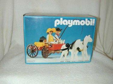 1983 PLAYMOBIL Western DR FAMILY BUCKBOARD WAGON with SNOW WHITE HORSES 3587 MIB