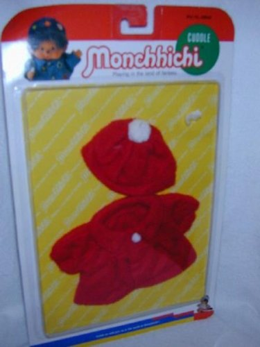 Sekiguchi MONCHHICHI Red Warm Fuzzy 2 pc CLOTHING Set 21 CM Girl Boy MOC VINTAGE