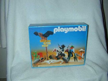 1980 PLAYMOBIL Western MASKED BANDITS ROBBERS 3748 VULTURES HORSES CACTUS MISB