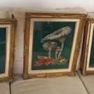 HUGE 3pc set MUSHROOMS Completed FINISHED Cross stitch Embroidery MATTED FRAMED
