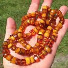 ANTIQUE BUTTERSCOTCH EGG YOLK NATURAL BALTIC AMBER BEAD NECKLACE 50gr See Video