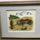 Crewel WAGON FIELD SCENE Needle Punch Completed FINISHED Embroidery WESTERN