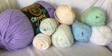 YARN LOT OF 9 - Lion Brand JIFFY JAMIE Pastel Pound Of Love NEW UNUSED Baby Yarn