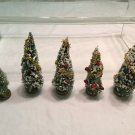 Vtg PUTZ Christmas BOTTLE BRUSH EVERGREEN TREES MICA FLOCKED VILLAGE TRAIN DECOR