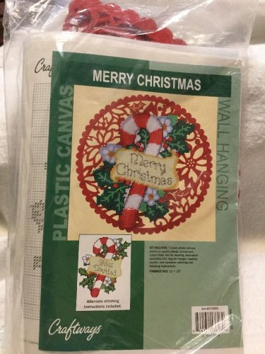 """VTG Craftways Plastic Canvas MERRY CHRISTMAS Wall Hanging Kit 11"""" x 12"""" #570045"""
