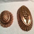 Set of 2 VINTAGE COPPER  Mold TIN LINED PINEAPPLE & OLIVE Embossed MADE IN ITALY