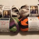 LOT 4x SKEINS Red Heart SASHAY Yarn HALLOWEEN SPARKLE Ruffle Scary SCARF Ribbon