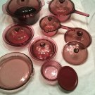 15 PC CORNING VISIONS & PYREX CRANBERRY COOKWARE BAKEWARE Starter Set HUGE LOT