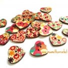 20 Painted Wood Buttons Heart Shape Buttons 22mm Craft Projects Sewing Buttons Assorted Lot