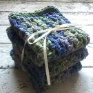 Handmade Crochet Dish Cloths Blue Purple Green Kitchen Dishcloths Cottage Shabby Chic Set of 3