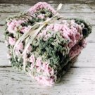 Handmade Kitchen Dish Cloths Pink Green Cotton Crochet Set of 3