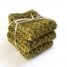 Handmade Dish Cloths Olive Green Kitchen Dishcloths Eco Friendly Cotton Crochet Set of 3