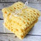 Handmade Dish Cloths Yellow Kitchen Dishcloths Eco Friendly Cotton Crochet Set of 3