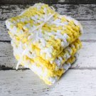 Handmade Dish Cloths Cotton Kitchen Dishcloths Yellow White Crochet Set of 3