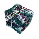 Handmade Kitchen Dish Cloths Purple Mint Green Rustic Eco Friendly Cotton Set of 3