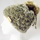 Handmade Irish Fisherman Wool Beanie Gray Tweed Ponytail Messy Bun Hat