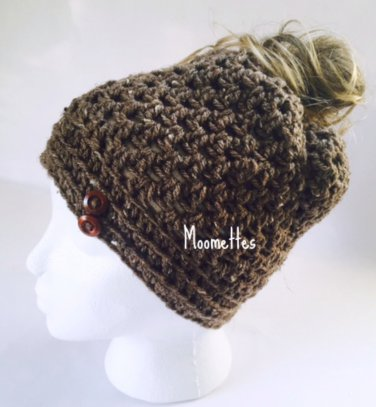 Handmade Messy Bun Hat Brown Aran Tweed Beanie Wood Button Pony Tail