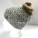 Handmade Messy Bun Hat Light Gray Beanie Wood Button Pony Tail Aran Grey Fleck Tweed