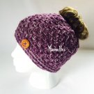 Handmade Messy Bun Hat Purple Beanie Wood Button Ponytail Runner