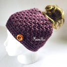 Handmade Messy Bun Hat Purple Beanie Wood Button Pony Tail Holder