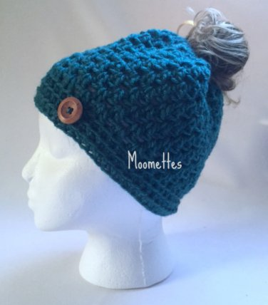 Handmade Messy Bun Hat Teal Green Beanie Wood Button Ponytail Holder