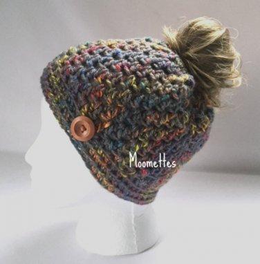 Handmade Messy Bun Hat Tweed Gray Beanie Aran Orange Yellow Twirl Wood Button Runner Pony Tail