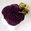 Handmade Messy Bun Hat Ponytail Tweed Purple Teal Beanie Oval Wood Button