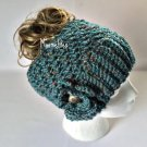 Handmade Messy Bun Hat Tweed Blue Beanie Wood Button Crochet Flower Pony Tail