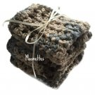 Handmade Wash Cloths Crochet Kitchen Dish Cloths Blue Brown Cotton Shabby Cottage Chic Set of 3