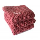 Handmade Dish Cloths Dark Rose Pink Wash Cloths Kitchen Dishcloths Earth Friendly Cotton Set of 3