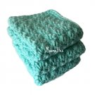 Handmade Dish Cloths Turquoise Aqua Blue Wash Cloths Cotton Kitchen Dishcloths Set of 3