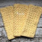 Handmade Dish Cloths Yellow Wash Cloths Kitchen Dishcloths Dishrag Cotton Set of 3