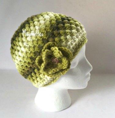 Handmade Beanie Lime Dark Green Hat Painted Wood Button Crochet Flower