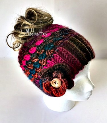 Handmade Chunky Messy Bun Hat Plum Brown Teal Ponytail Beanie Wood Button Crochet Flower