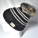 Handmade Messy Bun Black Beanie Wood Button Runner Pony Tail Hat Beige Stripe